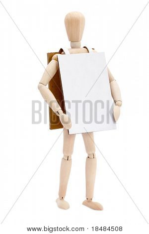 Puppet with a blank sandwich board sign