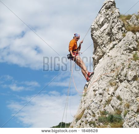 Rapeling Down  The Rock