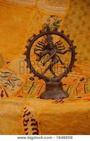 Bronze Shiva On Yellow - Orange