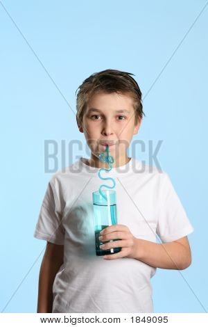 Thirsty Boy Drinking Water