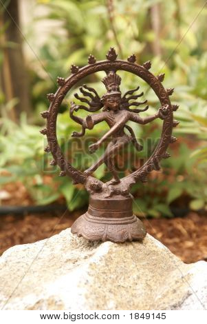 Bronze Shiva In Garden
