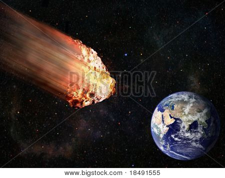 flaming asteroid hitting earth illustration