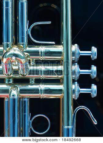 Closeup of a trumpet
