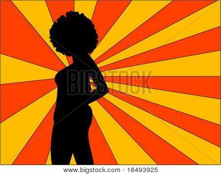 Vector retro. Mujer posando con un fondo de sunbeam.