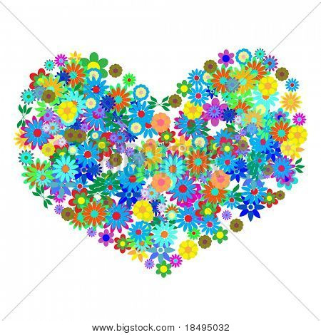 Vector - Heart shaped symbol formed by hundreds of flowers or floral patterns. Concept: Romance
