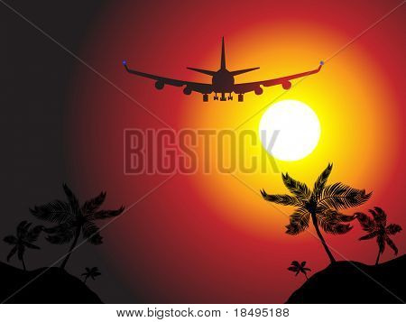 Vector - Air plane flying over a beach island towards sunset. Concept: Vacation travel.