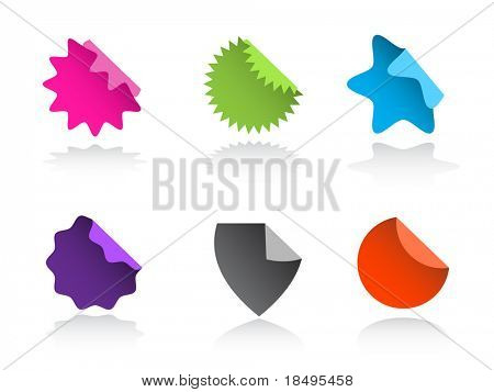 Raster - Glossy sale tag stickers with reflection and various sales pitch.