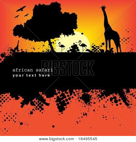 Vector - Halftone ink splat grunge background with african safari theme.