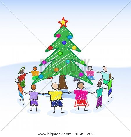 Raster - Illustration of a christmas tree child-like drawing or sketch with children