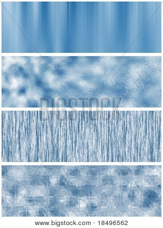 Set of four blue banners with various textures for use as templates or background