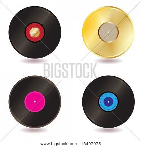 Vector - Illustration of a collection of vinyl lp discs and gold CD