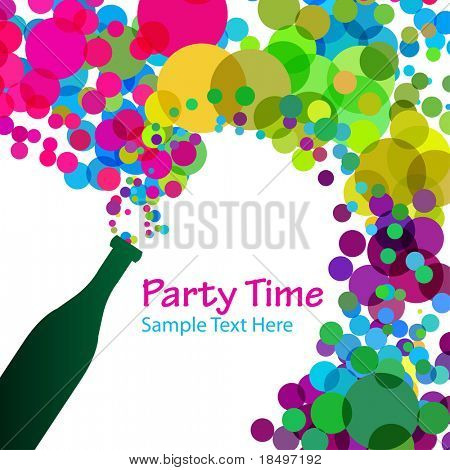 Vector - Illustration of a colorful bubbles escaping bottle of alcohol