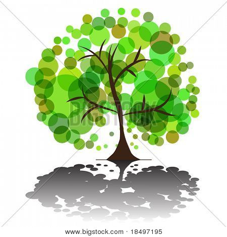 Vector - Illustration of a green tree with plenty of foliage