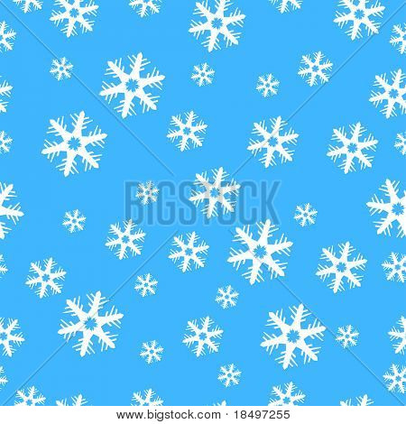 Raster - Illustration of colorful christmas decoration present paper with snow flakes, seamless