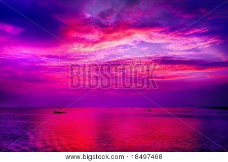 Spectacular Asian sunset over lake in Cambodia