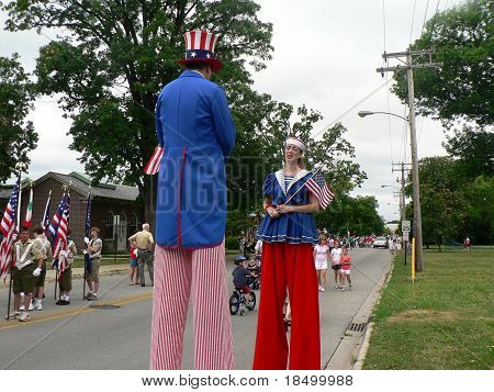 Uncle Sam and Lady Liberty at Fourth of July parade
