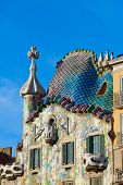 Casa Batllo a famous tourist destination restored by catalan architect Antoni Gaudi. Facade is decor