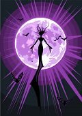 Vector illustration of a flying witch on full moon background