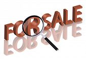 magnifying glass enlarging part of 3D word sale in red with reflections for sale icon sale button in