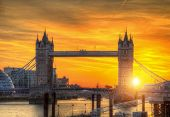London tower Bridge in sunset light. London is one of the most beautiful historical and modern city  poster