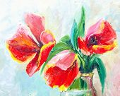 Oil Painting, Impressionism Style, Texture Painting, Flower Still Life Painting Art Painted Color Im poster