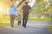 Happy Young Mixed Race Ethnic Family Walking In The Park. poster