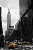 image of empire state building  - Yellow taxis on 35th street Manhattan New York - JPG