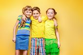 Happy joyful children having fun together. Childrens fashion. Education. Happiness, activity and ch poster