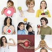 Collages diverse people health vitality poster
