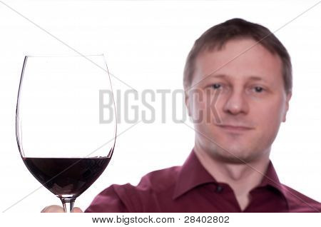 Smiling Man With A Glass Of Red Wine