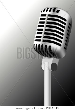 Antique Microphone Illustration