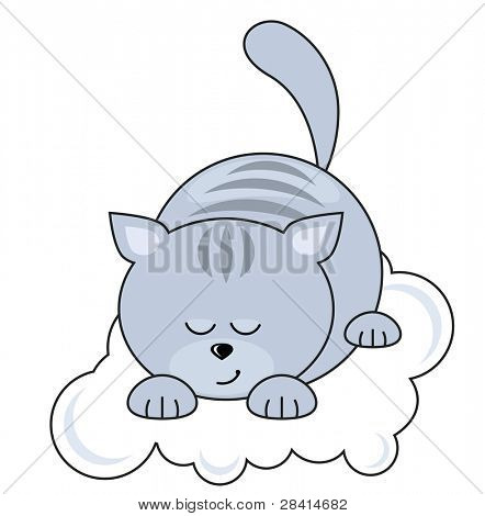Small blue pretty cat sleeping on a cloud. Raster version.