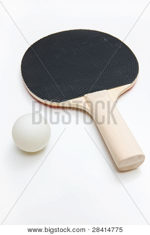 Ping Pong Paddle and Ball Isolated