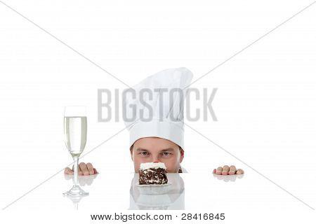 Attractive Young Caucasian Man Chef, Temptation