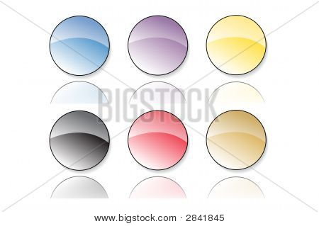Six Colorful Glassy Buttons