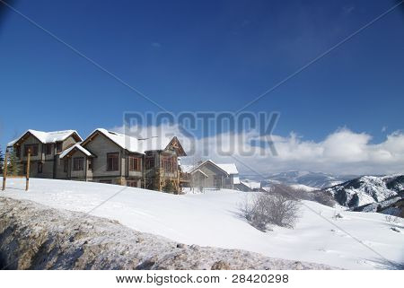Rolling Winter Hills With Snowy Conifers And Large Homes,