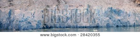 Panorama - Glacial Icefall On Ocean Fjord,