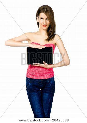 beautiful brunnete woman holding laptop
