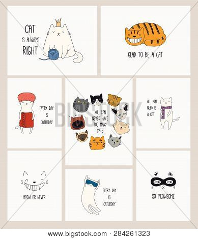 poster of Set Of Cards With Cute Color Doodles Of Different Cats With Funny Quotes For Cat Lovers. Hand Drawn