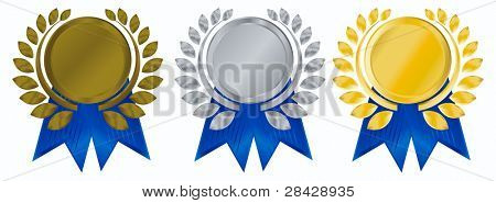 laurel wreath with Gold Silver and Bronze Medals