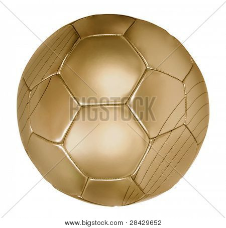 close up of gold Fußball auf weiß