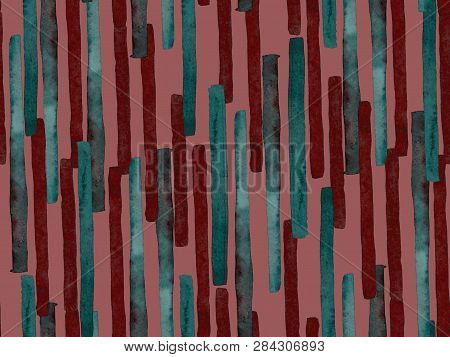 poster of Bauhaus Seamless Pattern. Watercolor Geometric  Red Magenta Lines Design. Art Organic Geo Background
