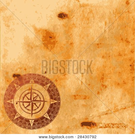 Background image with interesting old paper texture and compass