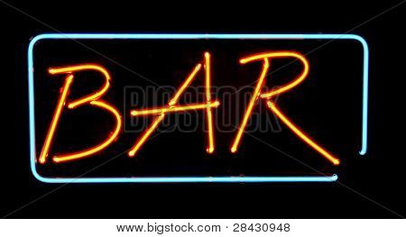 Orange neon bar sign. Advertising neon sign glow in dark