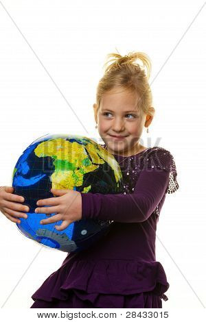 child with a globe