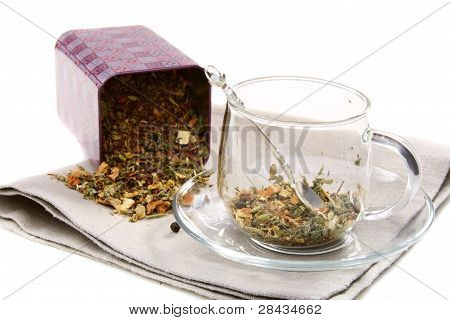 Set Of Dried Herbs, Fruits And Spices In Tea Cup.