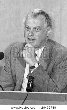 LONDON - SEPTEMBER 9: Rt.Hon. Christopher Patten, Chairman of the Conservative Party, attends a press conference on September 9, 1991 in London. He was later the last Governor of Hong Kong.