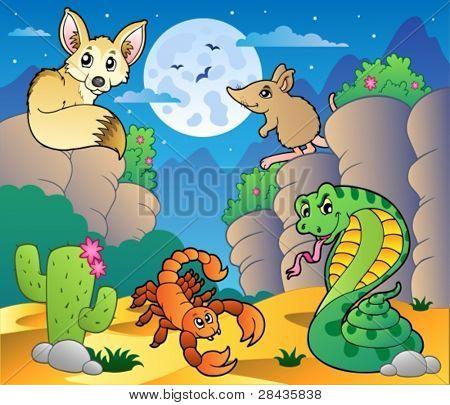 Cena com vários animais 5 - ilustração do vetor do deserto.