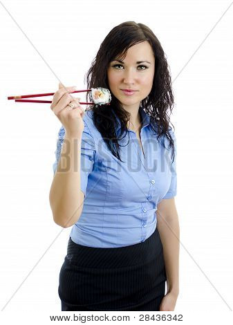 Girl With Chopsticks And Sushi. Isolated On White