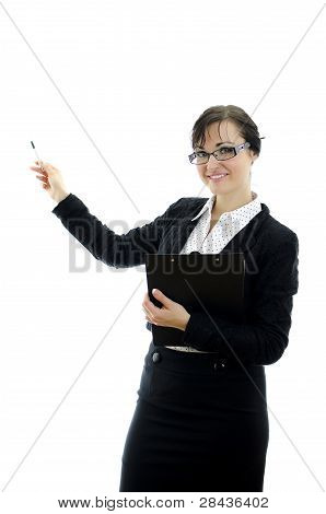 Business Woman In Glasses Pointing At Copyspace, Isolated On White